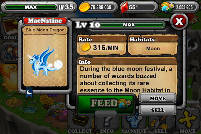 DragonVale Blue Moon Dragon