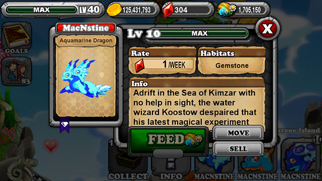 Dragonvale Aquarmarine Dragon