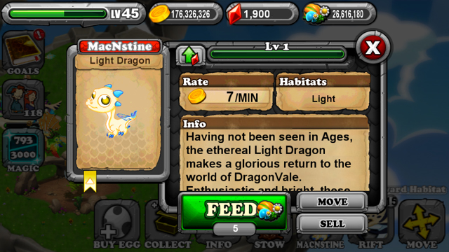 DragonVale Light Dragon