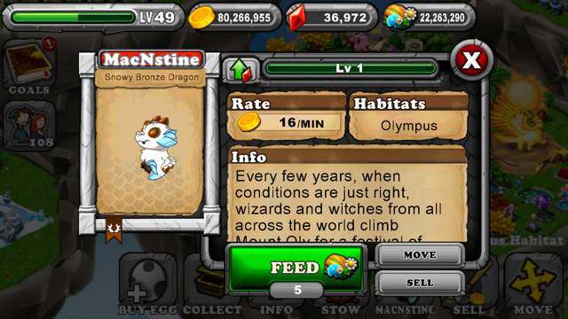 Dragonvale Snowy Bronze Olympus Dragon
