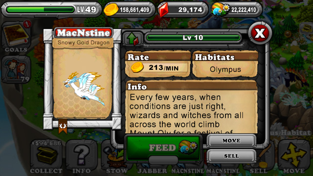 Dragonvale Snowy Gold Olympus Dragon