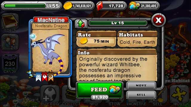 DragonVale Nosferatu Dragon