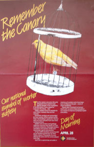 Poster showing a canary singing in a cage, reminding us of the canaries used in the past in coal mines to detect hazardous gases.