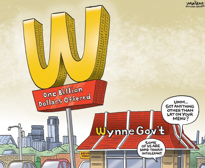 Editorial Cartoon by Graeme MacKay, The Hamilton Spectator Ð Tuesday May 17, 2016 Wavering on building LRT Spectator Editorial - Now that the LRT pot is on the front burner at full boil, it would be wise for everyone to take a deep breath.Ê Yes, it's disappointing that city council didn't take the opportunity to render a public display of support at last week's meeting. They should have. But as ourÊelected representatives, they have a right to express reservations and ask for more information and time. Hopefully putting it off for a week Ñ the matter isÊback before council in its general issues committee form tomorrow Ñ will give staff the time to provide the requisite information and councillors time to reflect. But if the matter is deferred again tomorrow, it will be more problematic. Quite simply, the time has come for council to send another clear, unequivocalÊmessage to the province: Thanks for the billion dollars, and yes, we will use it to build LRT. Arguments against LRT these days tend to fall into two categories. It's not something Hamilton needs now or ever, or it might be something Hamilton needs,Êbut it's premature. The first argument is the territory occupied by people who simply don't believe in modern, environmentally sound, economically catalytic public transit. ThoseÊof us who support improving and modernizing transit probably aren't going to convince this crowd. Their minds are closed. They're the ones who think theÊHSR in its current form was good enough in the '70s and '80s, so it's good enough for the future, perhaps with a few tweaks around the edges.Ê The other anti-LRT position Ñ that it's premature Ñ is more interesting and promising. You can make a solid case LRT might be a better fit eight or 10 yearsÊon, when the rest of our transit system is still not optimized to get full value from having LRT as a transit fulcrum. But here's the thing: a billion provincialÊdollars.Ê It's unlikely that any time in the foreseeable future a provi