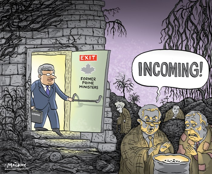"""Editorial Cartoon by Graeme MacKay, The Hamilton Spectator Ð Thursday May 26, 2016 Stephen Harper to bow out of federal politics before next fall Stephen Harper will bow out of federal politics before Parliament resumes in the fall to pursue new business interests. Harper, who served as prime minister for nearly a decade, is deciding his future as the Conservative Party prepares to meet for its national convention in Vancouver starting Thursday. Harper has offers from multiple U.S. companies, including private equity giant KKR, sources tell CBC News. A spokesperson for KKR declined a request for comment. The news of Harper's pending departure was first reported by the Globe and Mail. Conservatives will honour Harper with a tribute Thursday night before they look to chart a new course for the party he helped create. Harper is expected to deliver a short speech following the tribute. But don't expect Harper to discuss life after politics. Canada """"He will be speaking on Thursday, but he won't be speaking about his future plans,"""" said Rachel Curran, one of Harper's confidants and a former PMO policy director. """"He will be talking about the last 10 years, and what work the party still has to do, that will be the focus.Ó Until an official announcement is made, Harper's colleagues are shying away from weighing in on the former prime minister's next career move. A spokesperson for interim Conservative leader Rona Ambrose declined comment. (Source: CBC News) http://www.cbc.ca/news/politics/stephen-harper-to-bow-out-from-federal-politics-1.3598913 Canada, Stephen Harper, Joe Clark, Kim Campbell, John Turner, Paul Martin, Prime Minister, legacy, purgatory"""