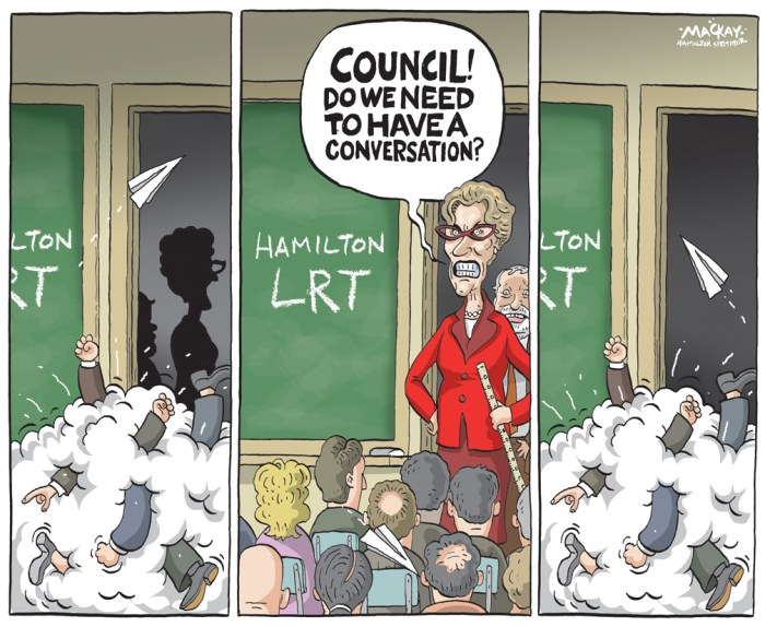 """Editorial Cartoon by Graeme MacKay, The Hamilton Spectator Ð Friday May 27, 2016 Premier Wynne wonders why debate, believes decision made Pressure is building on Hamilton council to formally accept or reject the province's $1-billion offer to build LRT in the city Ñ but don't expect it to happen anytime soon. Council has twice in May put off a contentious motion to endorse the province's offer to pay 100 per cent of capital costs for light rail transit, with some councillors even floating the idea of a referendum. The uncertainty prompted Ontario Premier Kathleen Wynne, local MPP Ted McMeekin and two major city developers this week to urge council to publicly back the project Ñ or at least make a decision. """"I honestly thought that the conversation was done,"""" said Wynne on Tuesday at an unrelated press conference. """"I was very surprised that it was being revisited. My hope will be that they will be able to go through this process and we'll have a final answer soon rather than later.Ó Mayor Fred Eisenberger said after council Wednesday he understands the premier's """"frustration,"""" but added it's possible the council motion to support the project will be put off until fall. """"I think a definitive statement, in my mind, has already been made,"""" he said, pointing out the city """"asked for the money, and the province delivered.Ó """"Are there additional questions councillors feel they need answered? Apparently so. Whether we resolve that in June, or later, is another issue.Ó But the mayor also argued the proposed vote won't guarantee or kill the project, which requires several layers of council approval, including a design sign-off and other formal legal agreements. Coun. Sam Merulla, who put forward the oft-deferred motion, said he's fine with waiting until the fall, when answers to questions about LRT traffic impacts and expropriation requirements will be available. He added the delay also allows time to address councillor concerns """"and bring support back up"""" for the p"""