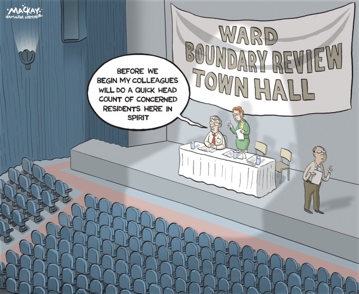 """Editorial Cartoon by Graeme MacKay, The Hamilton Spectator Ð Friday June 24, 2016 Should HamiltonÕs ward boundaries be redrawn to reflect areas of growth, perhaps even adding a 16th ward? The question is, should they remain or should they go? Not just in Britain Ñ although the Brexit debate has been kind of important, too. Should Hamilton's 15 ward boundaries remain the same or change? That has been the topic at a series of public meetings on the issue Ñ the most recent this week at Waterdown's Legion Hall. But the tepid turnout in Waterdown Ñ only three people showed Ñ and also last week at Tim Hortons Field, suggests residents may not be all that engaged. In fairness, """"Ward Boundary Review"""" is a subject hardly guaranteed to reel in even the most civic minded on a long, warm summer night. And Mayor Fred Eisenberger predicted neither councillors nor constituents would have much enthusiasm to tackle the issue. But last spring council voted to hire consultants to undertake a boundary review Ñ at cost of $270,000 Ñ to explore if changes would better reflect shifting population patterns. For example, Ward 7 on the central Mountain has 62,000 residents while rural Ward 14 in Flamborough has about 17,000. Among the alternatives suggested by the consultants: rearrange wards to follow federal riding boundaries; reshape wards to better reflect population; add a 16th ward. One option (shown on the map) shows a proposed Ward 16 on the Mountain, and also redrawing Ward 15 so it would geographically be smaller than it is now Ñ essentially Waterdown on its own, defined by Milburough Line to the east, Concession 7 to the north, Hwy 6. and Millgrove Sideroad to the west, to roughly the Niagara Escarpment along the southern border. Ward 15 Coun. Judi Partridge, whose ward is about 70 per cent rural, says consultants are paying too little attention to criteria such as culture, heritage, and the natural environment, and focusing too heavily on population. She added that"""
