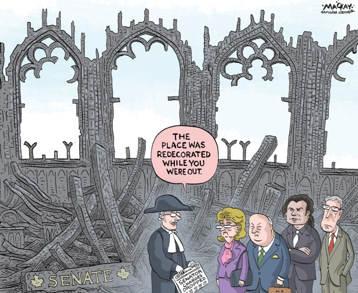 "Editorial Cartoon by Graeme MacKay, The Hamilton Spectator Ð Friday July 15, 2016 Someone must be held accountable for spending accusations: Brazeau Spending in the upper chamber still needs to be cleaned up, Sen. Patrick Brazeau said Thursday as he promised to push for more changes when he makes his triumphant return to the Senate in the fall. Brazeau said someone has to be held accountable for the fact that he has spent the last three years of his life under what he describes as false allegations of misspending and wrongdoing. Brazeau summoned the media to his Ottawa office Thursday and spoke out publicly at a news conference for the first time since his long, difficult legal saga began more than three years ago. Brazeau has long insisted he did nothing wrong when he filed housing claims for a secondary home near Parliament Hill, noting he met the test the Senate now uses for verifying a primary residence. Independent auditors from Deloitte couldn't conclude he broke any rules because the rules themselves were so vague, he added. But the Senate rejected that finding and ordered Brazeau to repay about $49,000 in housing claims. Months later, in November 2013, Brazeau was suspended without pay in an emotional vote in the upper chamber. Some Conservative senators abstained, believing it unfair to treat Brazeau the same as fellow members Pamela Wallin and Mike Duffy. Brazeau said he wants the whole thing to be ""water under the bridge,"" but knows that may be impossible. ""What happened in the Senate with me in particular ... was unjust and somebody needs to be held accountable,"" he said. ""And I'm going to work darn hard to make sure that place gets cleaned up, because each time you hear senators saying, 'Oh, well, we changed these rules and we changed those rules' Ñ well, they haven't done enough and I'm going to start working on that right away."" The rule changes, a key pressure point in the Senate, are at the heart of a dispute between one senator and the"