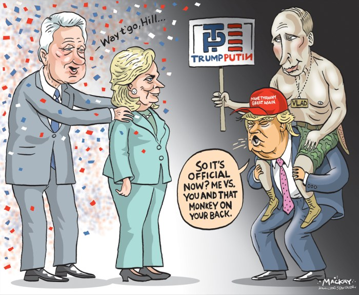 Image result for trump vs clinton cartoons