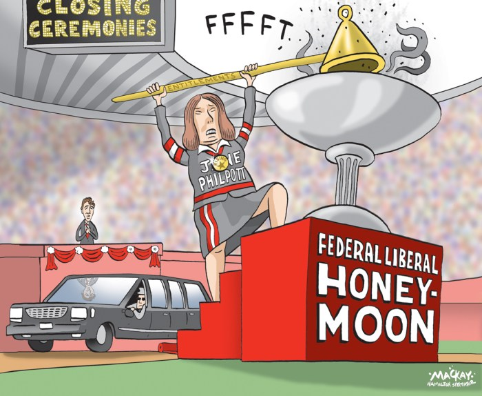 """Editorial Cartoon by Graeme MacKay, The Hamilton Spectator Ð Saturday August 20, 2016 Health Minister Jane Philpott accused of misleading Parliament on limo tab Health Minister Jane Philpott is facing accusations that she misled the House of Commons by failing to disclose controversial limousine travel she charged to taxpayers earlier this year. In a response to a question placed on the order paper by Conservative MP Dan Albas about the use of limousines, Philpott's department supplied an answer, signed by the minister, categorically denying any of the luxury vehicles were rented. """"With regard to government travel, for the period of Nov. 3, 2015, to April 22, 2016, the minister of health did not use rented limousines while on official business, within Canada or elsewhere,"""" the department wrote in its answer tabled in the House of Commons in June. However, Philpott has found herself in the opposition crosshairs this week after it was revealed that she charged taxpayers $1,700 for transportation around the Greater Toronto Area on March 31, using a limousine service owned by someone who campaigned for her in the federal election. The travel, to four events ranging from Hamilton to Markham and Toronto, took place during the time frame covered by the order paper question. Philpott's office has so far failed to provide any explanation for the discrepancy between her response tabled in the House of Commons and her expense accounts. In an e-mail late to CBC News late Thursday night, her office said """"the minister did not, and has not used a limousine.Ó However, spokesman Andrew MacKendrick did not respond to e-mails and phone calls from CBC News to explain what kind of vehicle the limousine service provided. (Source: CBC News) http://www.cbc.ca/news/politics/jane-philpott-limousine-government-spending-parliament-1.3727430 Canada, entitlements, expense, scandal, Jane Philpott, honeymoon, Liberal, Justin Trudeau, ceremony, Olympic"""