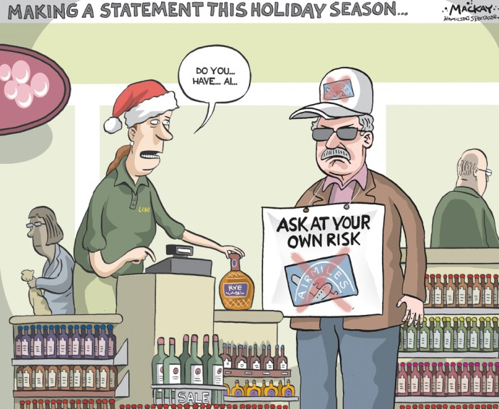 Editorial Cartoon by Graeme MacKay, The Hamilton Spectator - Saturday, December 3, 2016 Air Miles collectors stuck with redeemed rewards Air Miles Canada says it won't reimburse collectors who spent their points in anticipation of an expiration policy that will no longer take effect at the end of theyear. The company that runs the Air Miles loyalty points program, LoyaltyOne, announced Thursday it was cancelling plans that would have seen collectors lose milesolder than five years. While some celebrated the news, others — who had scrambled to redeem their miles ahead of the expiry — were angered by the about face. Air Miles Canada's Twitter account told two customers the company would not be reimbursing collectors who spent their points to avoid having them expire. The account sent tweets saying the company would not accept returns, cancellations or exchanges due to the cancellation of the expiry policy, once booked. The Air Miles reward program launched in 1992 and has more than 11 million active collector accounts. (Source: Toronto Star)https://www.thestar.com/business/2016/12/02/air-miles-collectors-stuck-with-redeemed-rewards.html Ontario, Canada, Air Miles, loyalty, point cards, rewards, LCBO, consumer