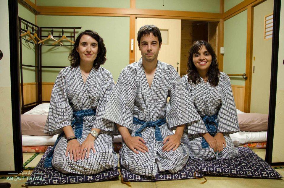 Con Antonio y Giovis en el Tajimaya Inn en Magome