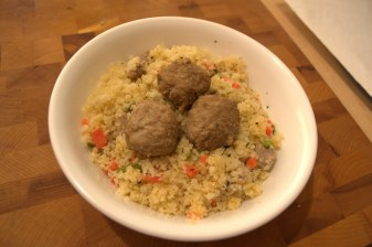 Carrots and Asparagus in Couscous with Meatballs (Baby Food)