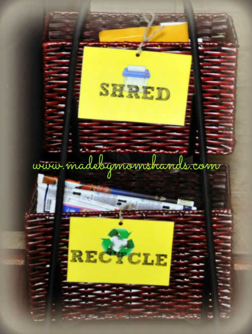 Shred and Recycle Baskets for junk mail