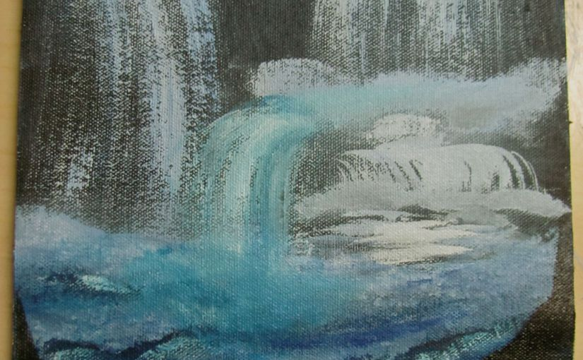Water fall acrylic painting