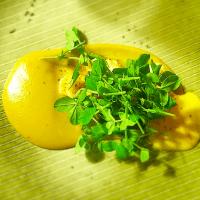 Nytårsmenuen 2014: 1. mellemret - Råstegte jomfruhummere med kartoffel/hummerpure, piment d'Espelette, safranmayo og ærteskud