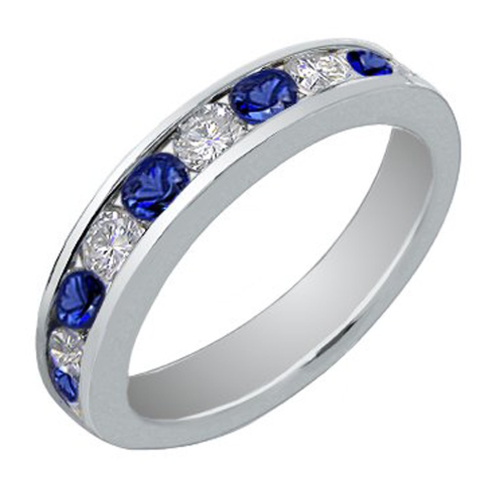 Blue Sapphire Wedding Band Ring sapphire wedding band 1 00 Ct Round Cut Diamond And Blue Sapphire Wedding Band Ring