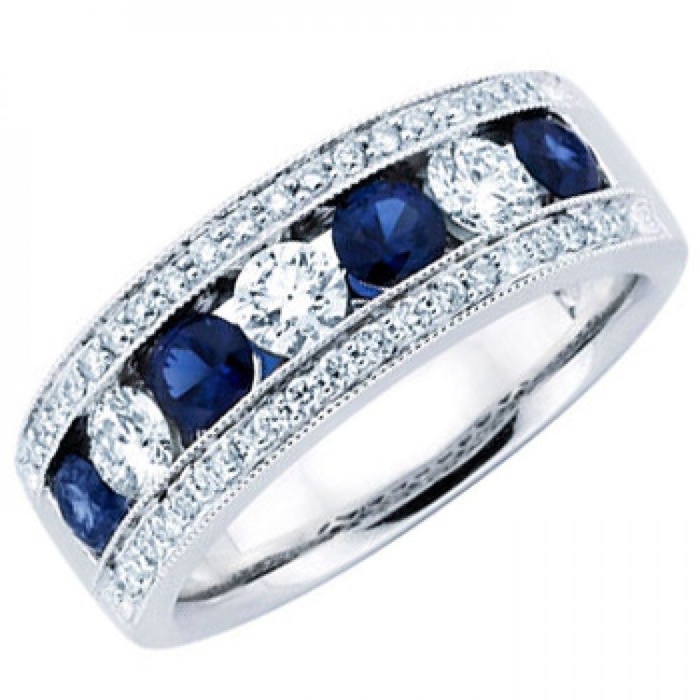 Ladies Blue Sapphire Wedding Band Ring sapphire wedding band 1 50 ct Ladies Blue Sapphire Wedding Band Ring