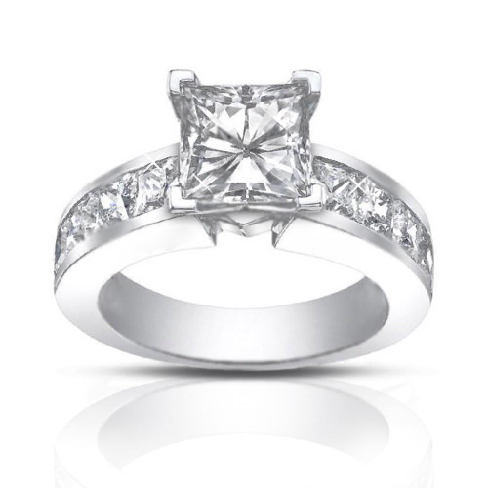4 50 Ct Princess Cut Diamond Engagement Ring Set In Channel Setting wedding ring princess cut 4 50 Ct Princess Cut Diamond Engagement Ring Set In Channel Setting