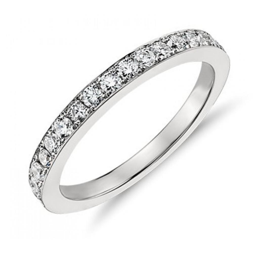 Micro Pave Wedding Band Ring 14kt micro pave wedding band 0 50 ct Ladies One Row Diamond Wedding Band Ring
