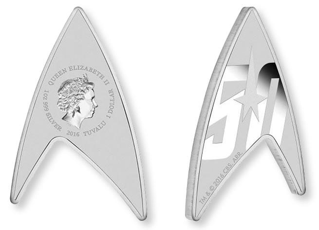 Stříbrná australská mince Star Trek ve tvaru písmene delta