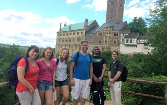 The class and professors at Wartburg Castle.