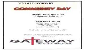 Gateway Rescue Mission Community Day @ New Life Center | Mendenhall | Mississippi | United States