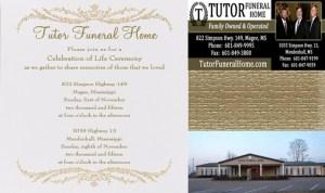 Celebration of Life Tutor Funeral Home