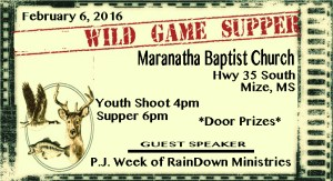 Maranatha Baptist Hosts Wild Game Supper @ Maranatha Baptist Church | Mize | Mississippi | United States