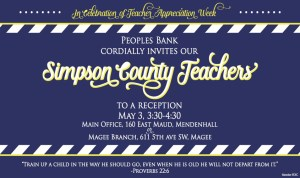 Peoples Bank Teacher Appreciation Day