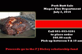 Magee Fire Department Selling Pork Butts