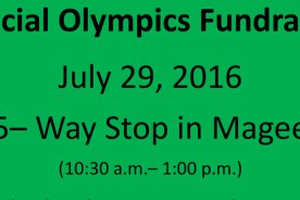 Special Olympics Fundraiser 5 Way Stop n Magee 10:30-1:00