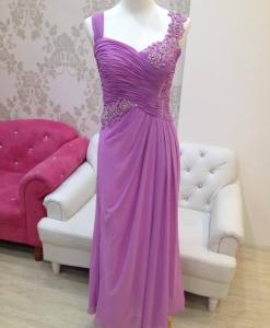 媽媽禮服,粉紫蕾絲,百褶細腰晚禮服
