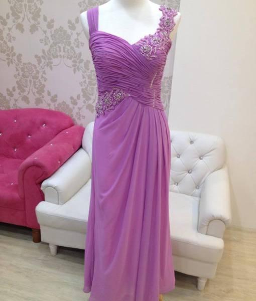 [媽媽禮服]粉紫蕾絲百褶晚禮服M1