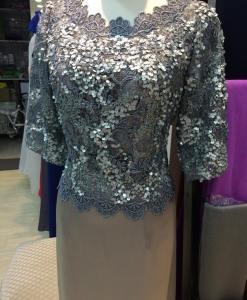 媽媽禮服,銀色亮片,絲緞長擺