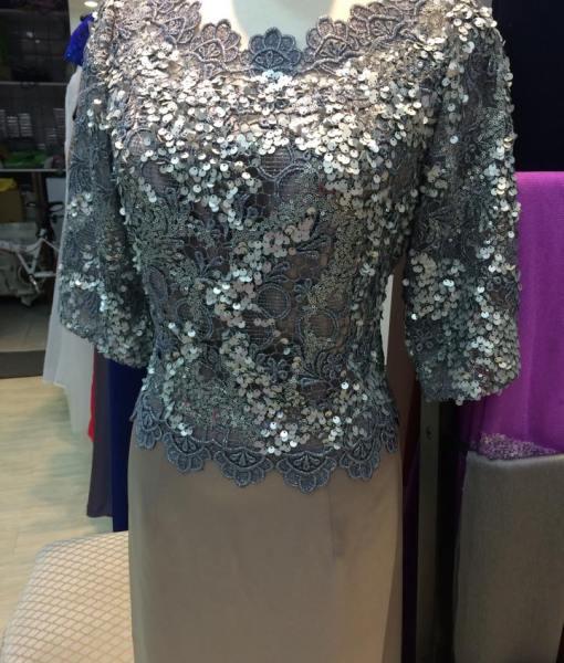 [媽媽禮服]銀色亮片絲緞長擺MS-62