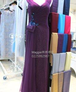 媽媽裝,媽媽禮服,深紫色,多層次網紗,手工禮服