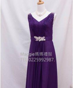 媽媽禮服,紫色雪紡,亮鑽腰帶,晚禮服