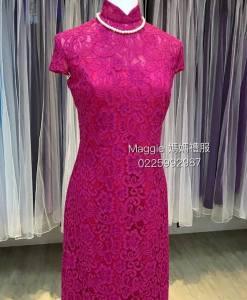 媽媽禮服,復古旗袍,桃紅色,蕾絲短版旗袍,