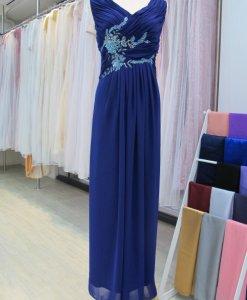 媽媽禮服,深寶藍,羅馬領,亮片貼花禮服