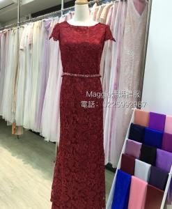 台北媽媽禮服,暗紅色,蕾絲,A-line,裙擺