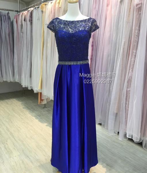 [台北媽媽禮服]MB05亮寶藍色蕾絲上身緞面裙媽媽裝晚禮服