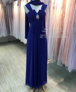 媽媽禮服,寶藍色雪紡紗,魔力女神風,披肩,水鑽胸針