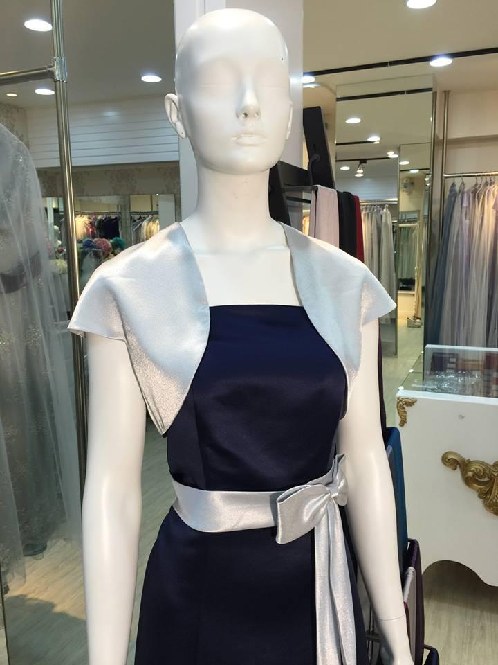 媽媽禮服,深寶藍,緞面,銀腰帶,蝴蝶結,短外套,洋裝,小禮服