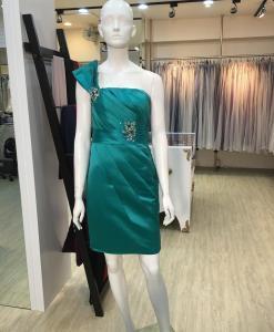 媽媽禮服,MS41,香檳金,斜肩,搭飄飄肩帶,小禮服
