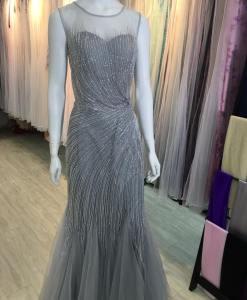 台北媽媽禮服,媽媽禮服,婆婆禮服,銀色手工串珠,水鑽,晚禮服,