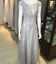 媽媽禮服,銀灰色,手工穿珠,手工蕾絲貼花,美背綁帶,蕾絲,晚禮服