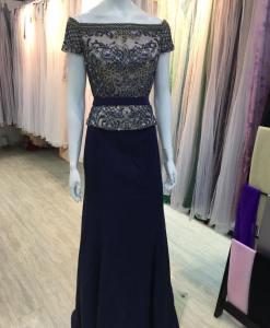 高雅,碧藍,手工串珠,水鑽,絲緞,腰帶,晚禮服