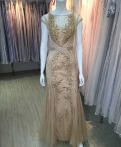 媽媽禮服,金色,手工穿珠,卡肩,美背,蕾絲布,晚禮服