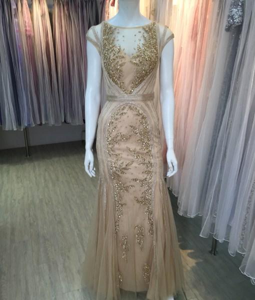 [台北媽媽禮服]M-21金色手工穿珠卡肩美背蕾絲晚禮服